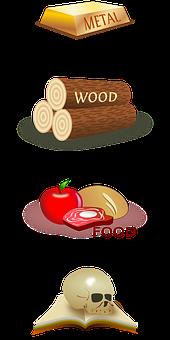Metal, Wood, Food, Knowledge, Gold, Logs, Wood Pile