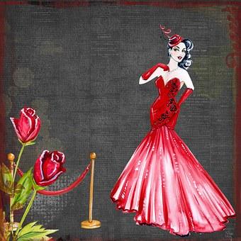 Retro, Vintage, Movie, Star, Roses, Starlet, Watercolor