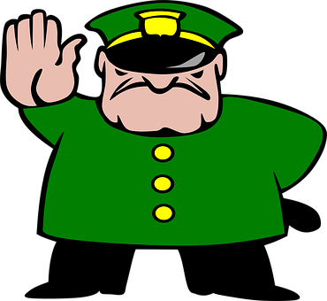Police, Man, Stop, Strict, Stick, Angry, Hat, Green