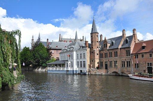 Paysage, Rivière, Barques, Monuments, Bruges, Belgique