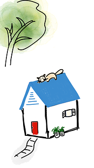 Cat, Roof, House, Cottage, But, Tree, Playful, Kitten