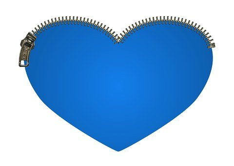 Heart, Zipper, Zip, Blue, Love, Close, Safe, Valentine