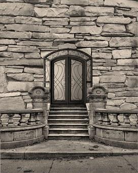 Entrance, Door, Stoop, Street, Sidewalk, Gate