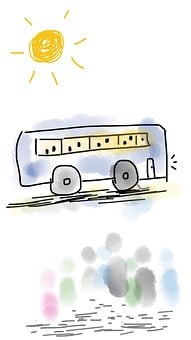 Bus, People, Passengers, Sunshine, Sun, Sunny, Tour