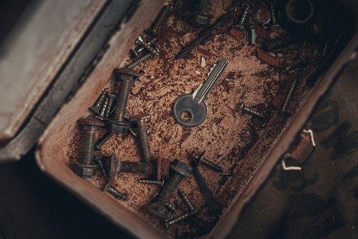 Key, Box, Rust, Vintage