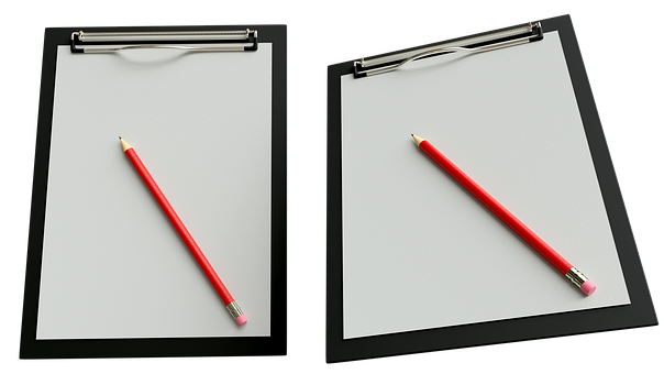 Notepad, Pencil, Paper, Office, Work, Isolated, 3d