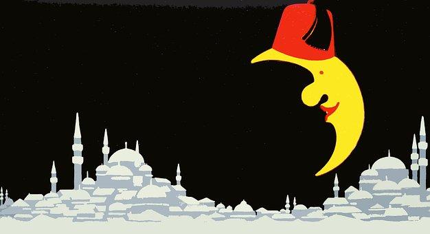 Turkey, City, Moon, Hat, Turkish, Silhouette, Travel