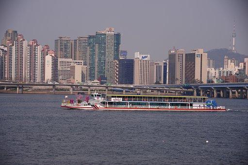 Han River, Pleasure Boat, Building, Apartments, Namsan