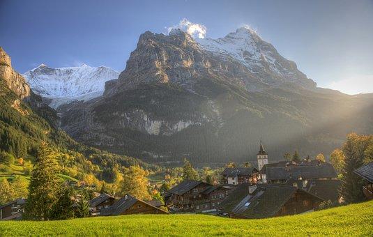 Eiger, Grindelwald, Village, Autumn, Farmhouses