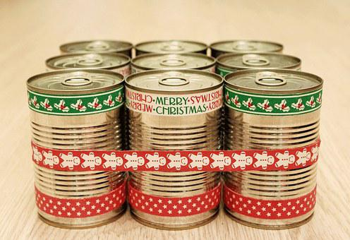 Bank, Canned, Gift, Christmas, New Year's Eve