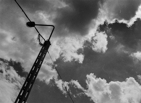 Clouds, Pylon, Black And White, Sky, Electricity