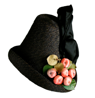 Womans Hat, Ribbon, Hat, Straw Hat, Black, Headwear