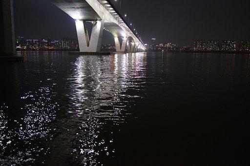 Bridge, Republic Of Korea, Korea, Seoul, Night View