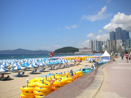 Busan, Haeundae Beach, Umbrellas, Korea, Beach, Ocean