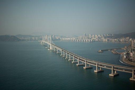 Bridge, Landscape, Busan, Gwangan Bridge, Sea