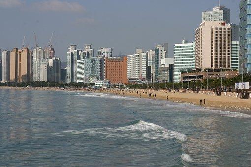 Beach, Sea, Busan, Coastal Cities, Asia, Land