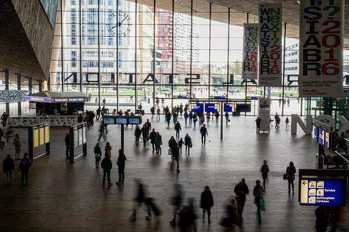 Rotterdam, Central, Station, People, Hustle And Bustle