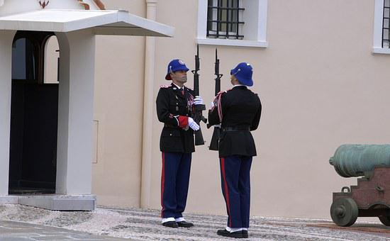 Monaco, Prince Castle, Changing Of The Guard, Soldiers
