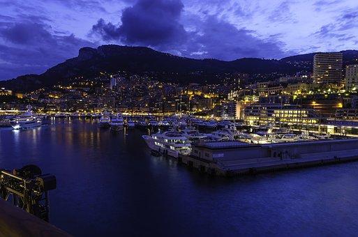 Monaco, Night, Port, Seaside, City, Night Lights