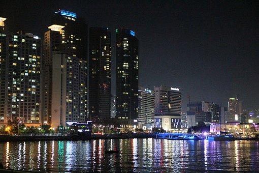 Night View, City, Sea, Night, Busan, Haeundae Beach