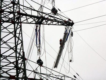 Current, Strommast, Mast, Current Work, Power Line