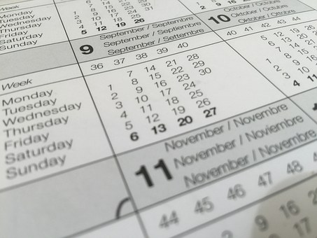 Calendar, Date, Dates, Distribution Of The Week