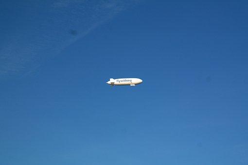 Zeppelin, Fly, Rigid Airship, Sky, Blue, Aviation