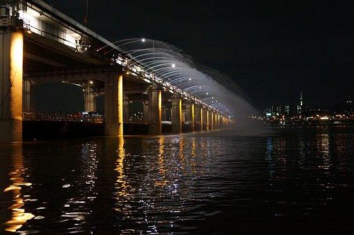 Banpo Bridge, Fountain, Han River, Bridge