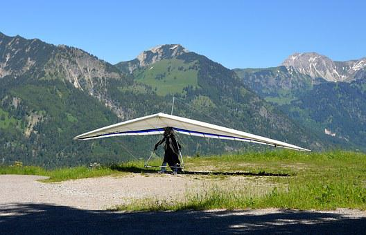 Hang Glider, Mountains, Landscape, Courage, Freedom