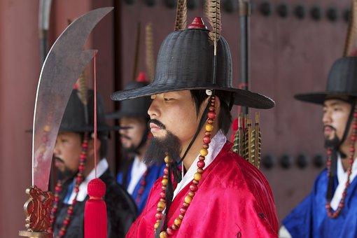 Korea, Guard, Seoul, Traditional, Gyeongbokgung