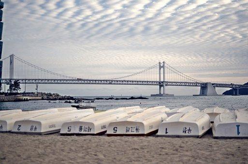 Busan, Gwangan Bridge, Diamond Bridge, Boats, Beach