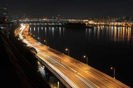 Olympic Boulevard, Street Lights, Night View, Han River