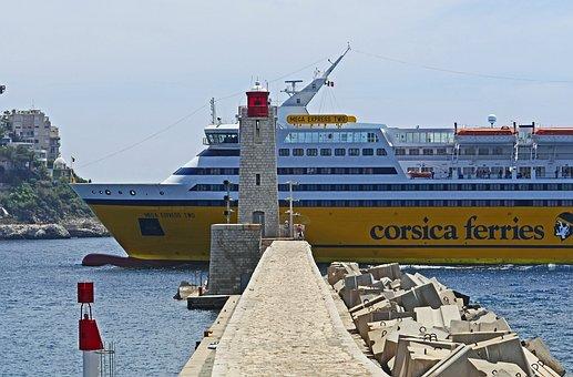 Harbour Entrance, Lighthouse, Nice, Corsica Ferry