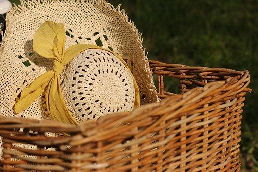 Hat, Basket, Yellow, Ribbon, Vintage, Dreamy, Happy