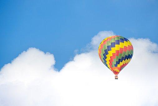 Hot Air Balloon, Colorful, Blue Sky, Cumulus, Air, Hot