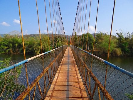Hanging Bridge, Gangavali River, Ramanguli, Karnataka
