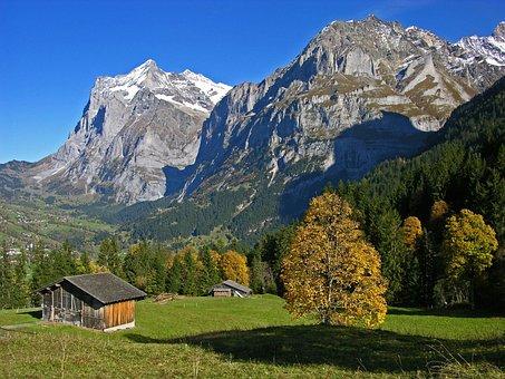Bernese Oberland, Mountain Landscape, Autumn, Farmhouse