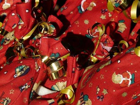 Advent Calendar, Nicholas, Packed, Made, Bag, Red