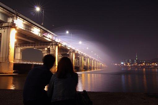 Han River, Hannam Bridge, Night View, Bridge, Lovers
