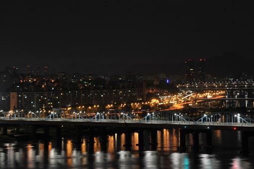 Night View, Motion Bridge, Han River, Seoul