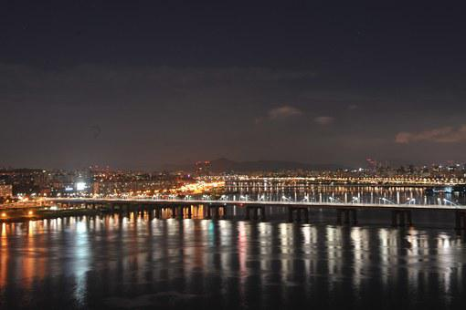 Motion Bridge, Night View, Han River, Seoul