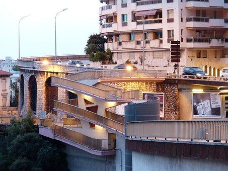 Road, Street Scene, Lighting, Stairs, Railing