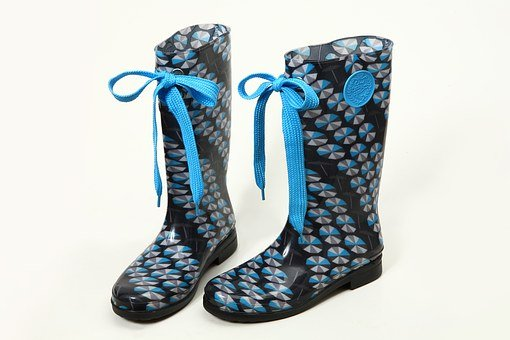 Boots, Rain Boots, Ribbon, Shoes