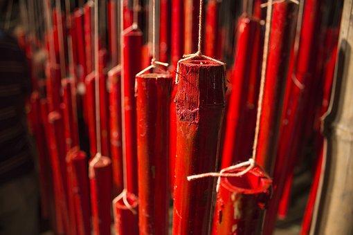 Bamboo, Bansh, Red, Red Bansh, String, Hanging