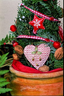 Christmas Decoration, Heart, Red, Walnut, Christmas
