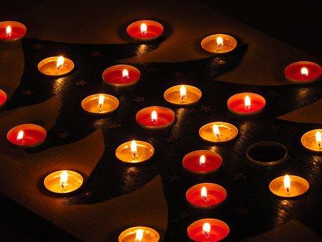 Tea Lights, Advent Calendar, Christmas Tree, Red