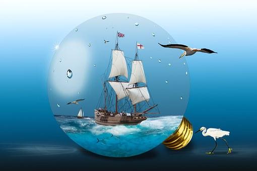 Light Bulb, Sea, Sailing Vessel, Sailing Boat, Boat