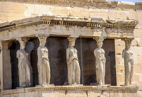 Acropolis, Athens, Caryatids, Sculpture, Monument