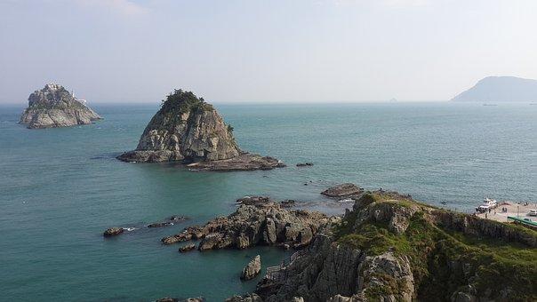 Sea, Island, Busan, Oryukdo, Nature, Rock, Horizon