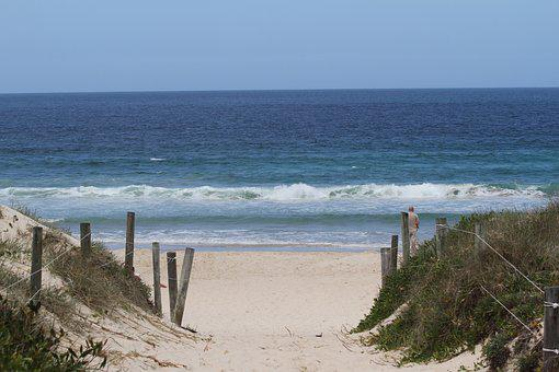 Ocean, Sand, Walk, Beach, Sea, Water, Fence, Australia